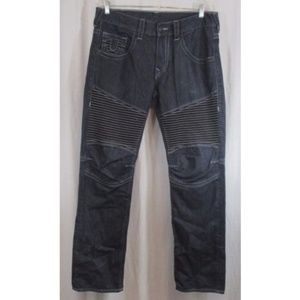 True Religion Blue Moto Slim Run Stitch Jeans 34